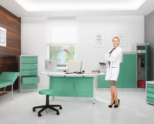 metalowe meble do gabinetu lekarskiego