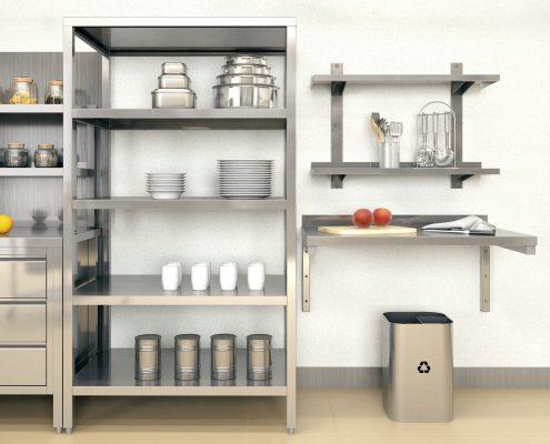 metalowe meble do kuchni w lokalu