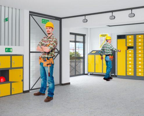 żółte meble metalowe do warsztatu